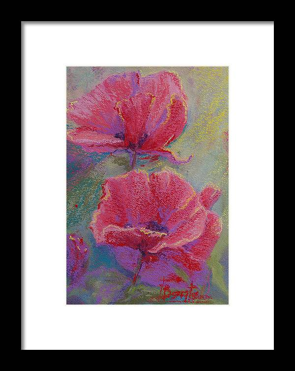 Poppies Framed Print featuring the pastel Poppy Duo by Bente Hansen