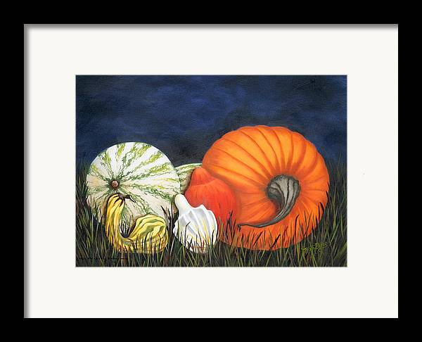Pumpkin Framed Print featuring the painting Pumpkin And Gourds by Ruth Bares