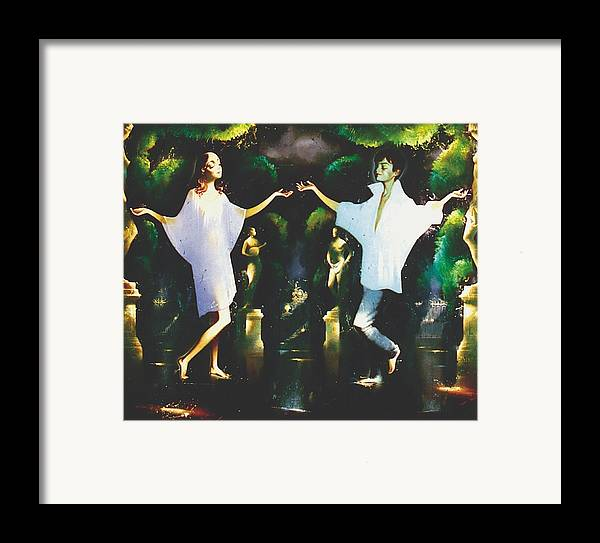 Figures Framed Print featuring the painting Rain Through Sunshine by Andrej Vystropov
