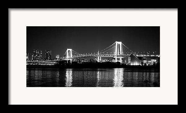 Horizontal Framed Print featuring the photograph Rainbow Bridge At Night by Xkhol
