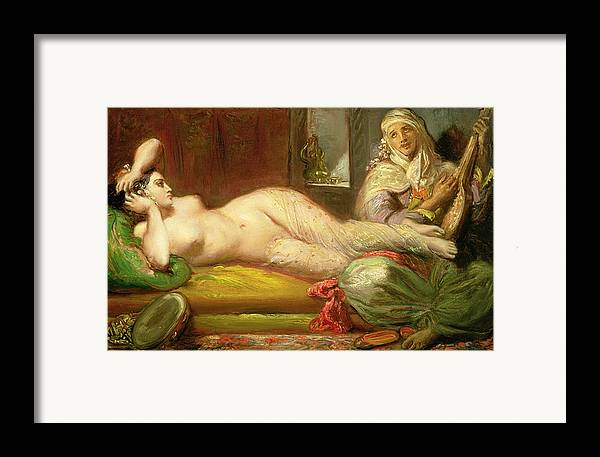 Reclining Framed Print featuring the painting Reclining Odalisque by Theodore Chasseriau