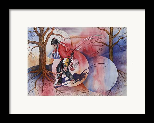 Native American Spirit Portrait Framed Print featuring the painting Red Dancer by Patsy Sharpe