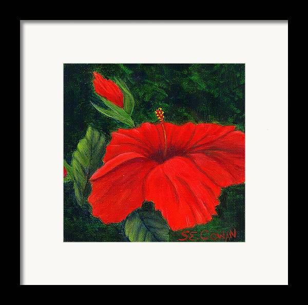 Floral Framed Print featuring the painting Red Hibiscus by SueEllen Cowan