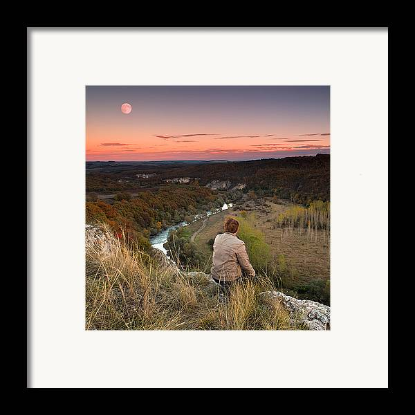 Dusk Framed Print featuring the photograph River And Moon by Evgeni Dinev