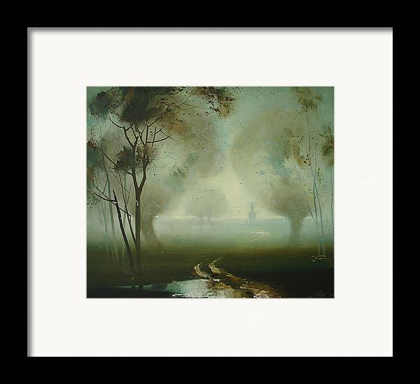 Landscape Framed Print featuring the painting Road by Andrej Vystropov