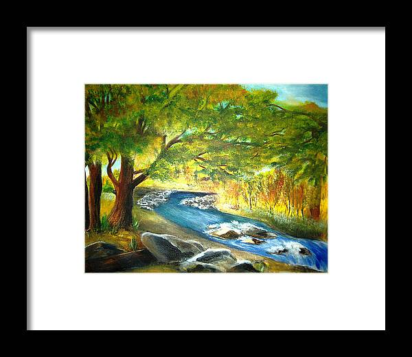 Landscape Framed Print featuring the painting Running Waters by Vivian Mosley