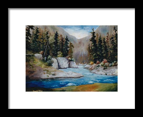 Landscape Framed Print featuring the painting Rushing Waters by Brenda Thour