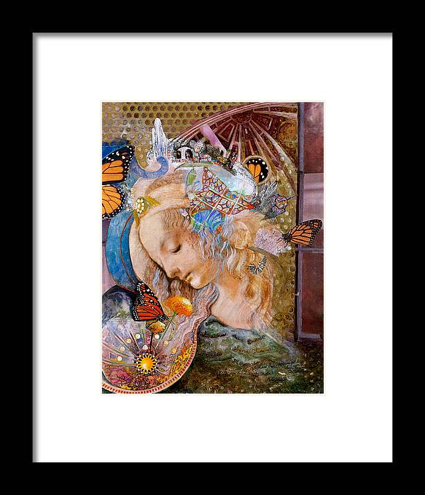Collage Framed Print featuring the mixed media Sanctuary by Diane Woods