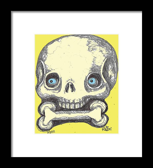 Rwjr Framed Print featuring the digital art Skullnbone by Robert Wolverton Jr