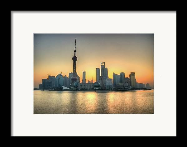 Horizontal Framed Print featuring the photograph Skyline At Sunrise by Photo by Dan Goldberger