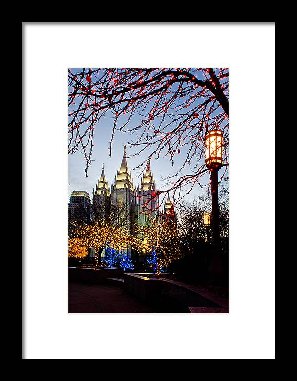 Temple Framed Print featuring the photograph Slc Temple Lights Lamp by La Rae Roberts