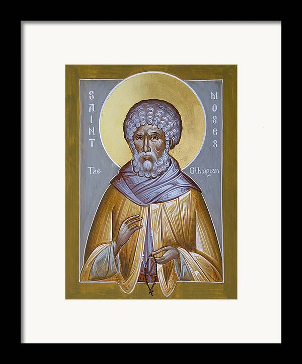 St Moses The Ethiopian Framed Print featuring the painting St Moses The Ethiopian by Julia Bridget Hayes
