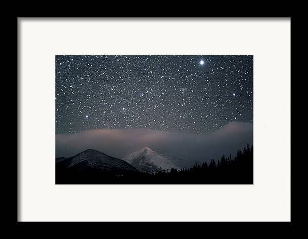 Horizontal Framed Print featuring the photograph Stars Over Rocky Mountain National Park by Pat Gaines