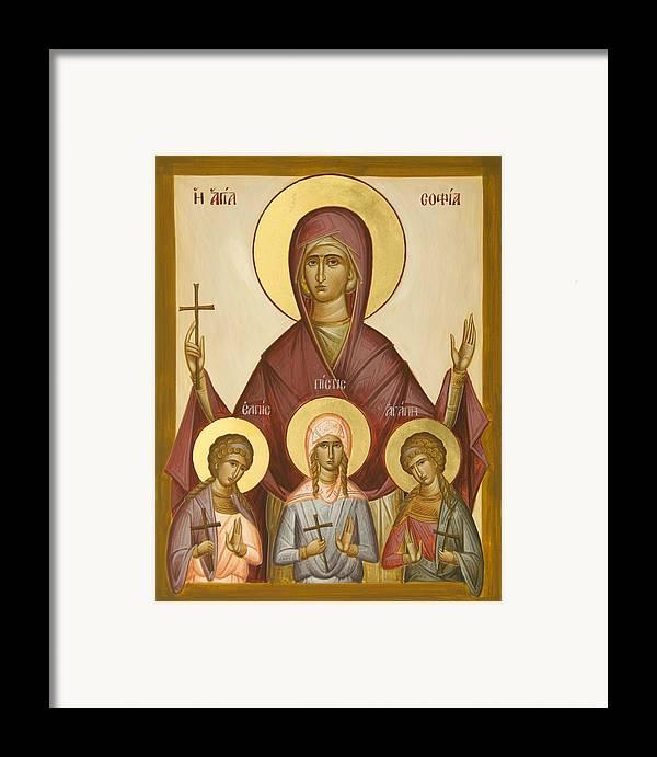Sts Sophia Faith Hope And Love Framed Print featuring the painting Sts Sophia Faith Hope And Love by Julia Bridget Hayes