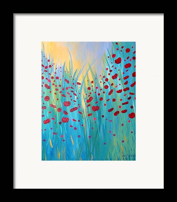 Poppies Framed Print featuring the painting Sunlit Poppies by Stacey Zimmerman
