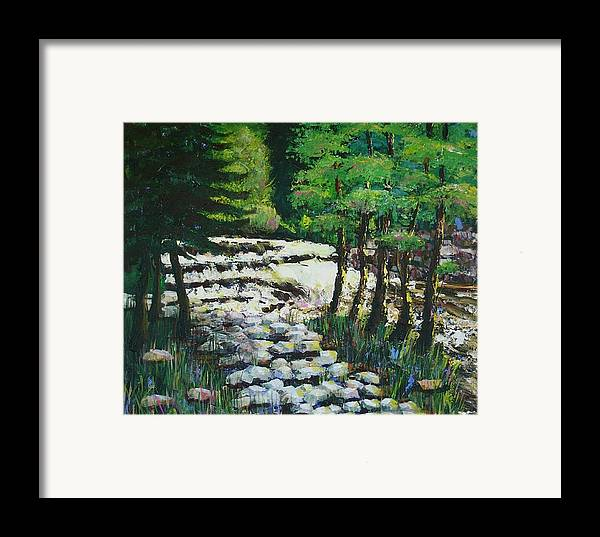 Waterfall Framed Print featuring the painting Sunlit Waterfall by Art Nomad Sandra Hansen