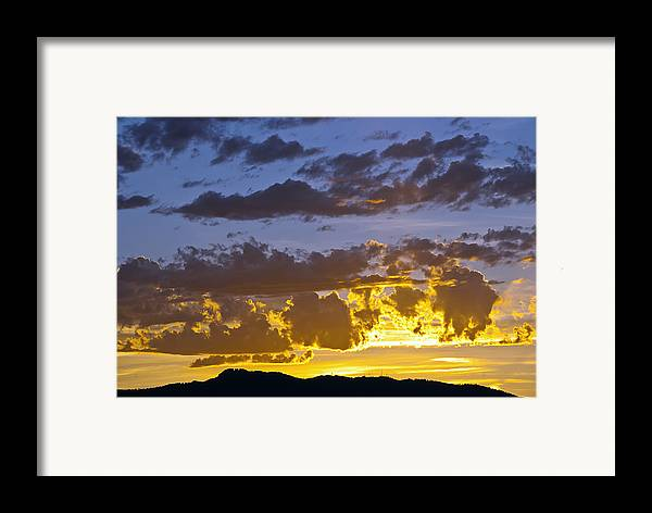 Fort Collins Framed Print featuring the photograph Sunset Over Horsetooth Rock by Harry Strharsky