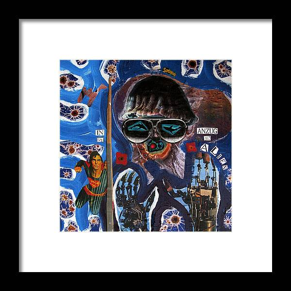 Kamelogana Framed Print featuring the mixed media Superman In Anzug Ist Ein Alien by Christoph Fuhrken