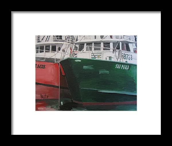 Fishing Framed Print featuring the painting T Luis And Paulo by David Poyant
