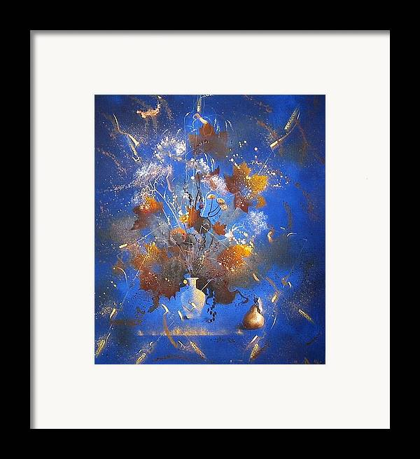 Still Life Framed Print featuring the painting The Blue Bouquet by Andrej Vystropov