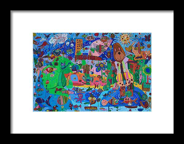 Acrylic Framed Print featuring the painting The Dog Out Walking The Fish by Seema Gill