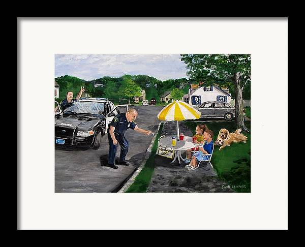 Police Framed Print featuring the painting The Lemonade Stand by Jack Skinner