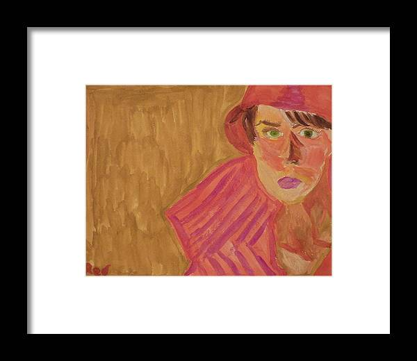Woman Framed Print featuring the painting The Woman In Red by Joshua Redman