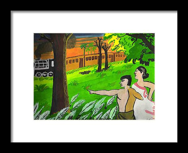 Landscape Framed Print featuring the painting Train Passing Through A Village by Archit Singh