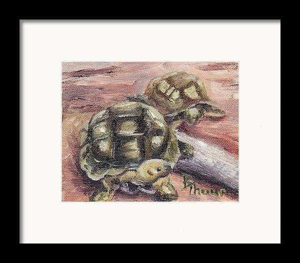 Turtle Framed Print featuring the painting Turtle Friends by Brenda Thour