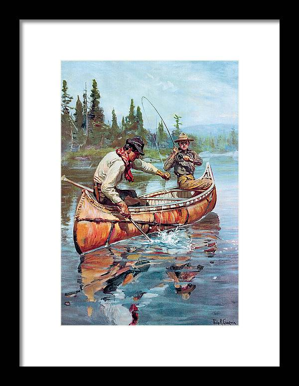Fishing Framed Print featuring the painting Two Fishermen In Canoe by Phillip R Goodwin