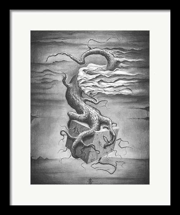 Abstract Framed Print featuring the drawing Untitled by Victor Whitmill