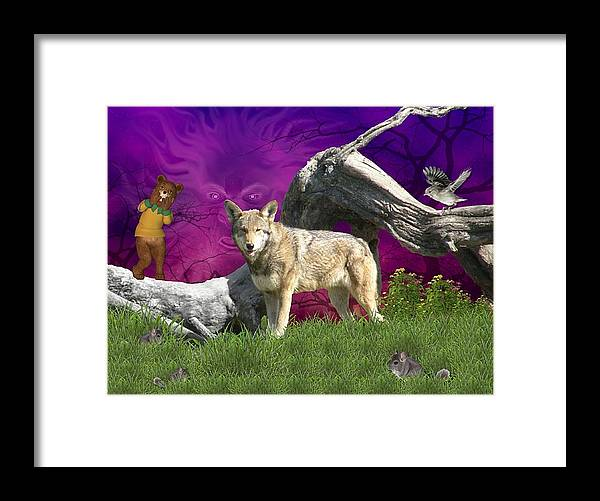 Wolf Framed Print featuring the digital art Ut Oh by Morning Dew