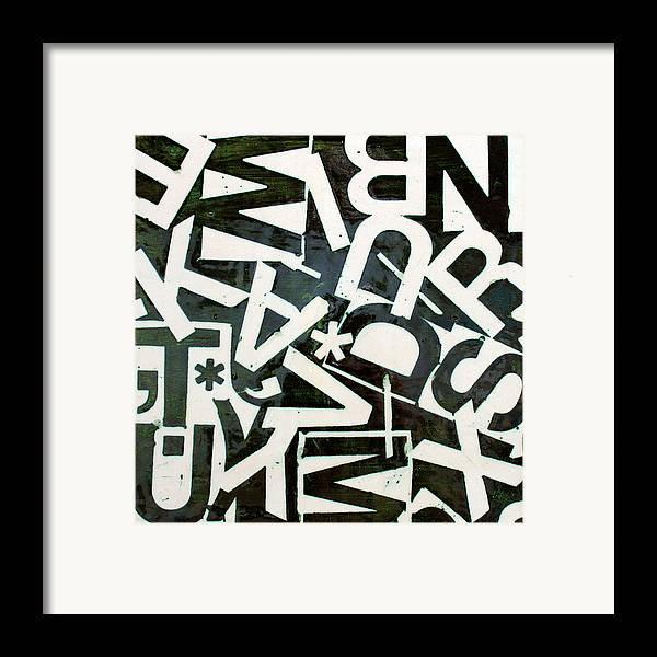 Letters Framed Print featuring the relief Wake My Burn Dust Xiv by Jason Messinger