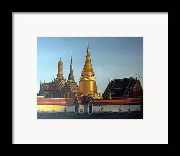 Temple Framed Print featuring the painting Wat Pra Keaw by Chonkhet Phanwichien