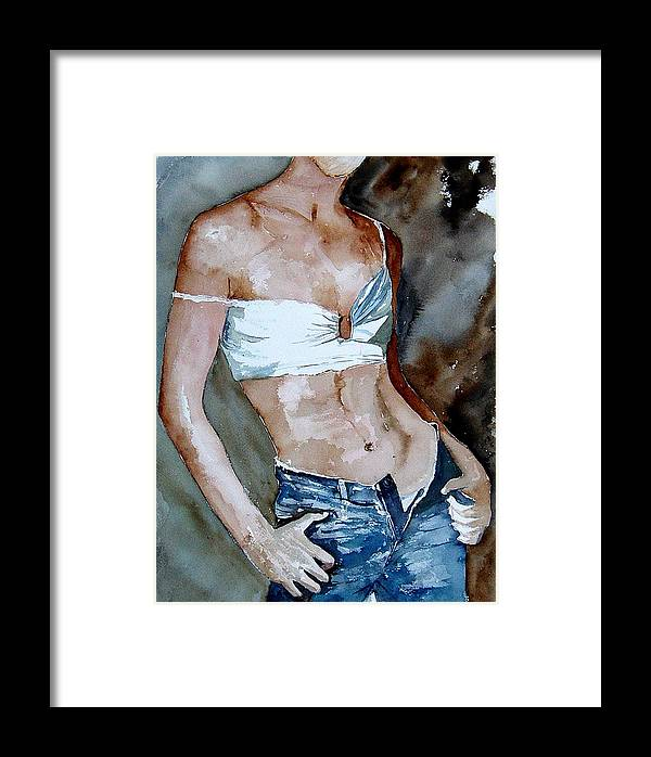 Nude Framed Print featuring the painting Watercolor Nude 100405 by Pol Ledent