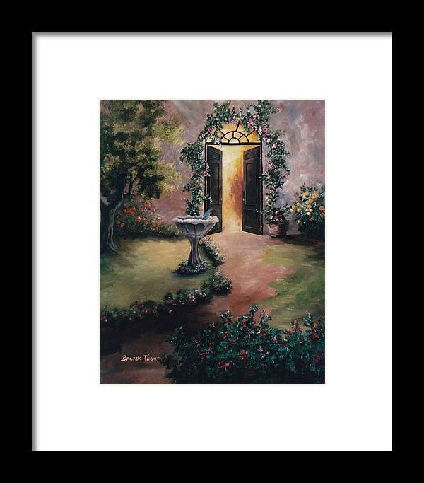 Flower Framed Print featuring the painting Welcoming Light by Brenda Thour