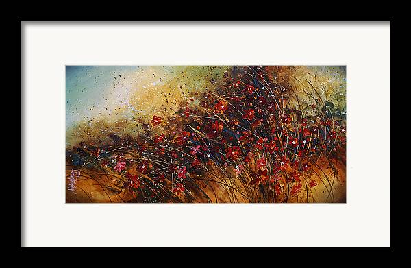 Red Flowers Framed Print featuring the painting Wild by Michael Lang