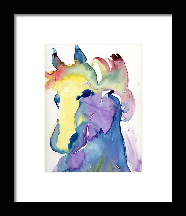 Horse Framed Print featuring the painting Yupo Horse by Janet Doggett