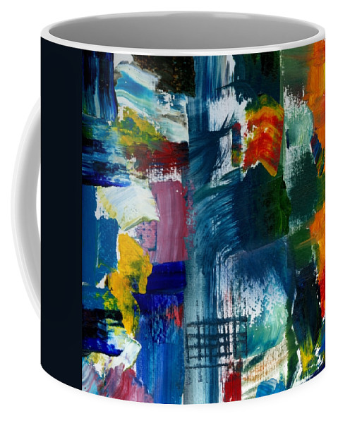 Abstract Collage Coffee Mug featuring the painting Abstract Color Relationships L by Michelle Calkins