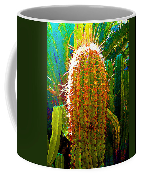 Succulent Coffee Mug featuring the painting Backlit Cactus by Amy Vangsgard