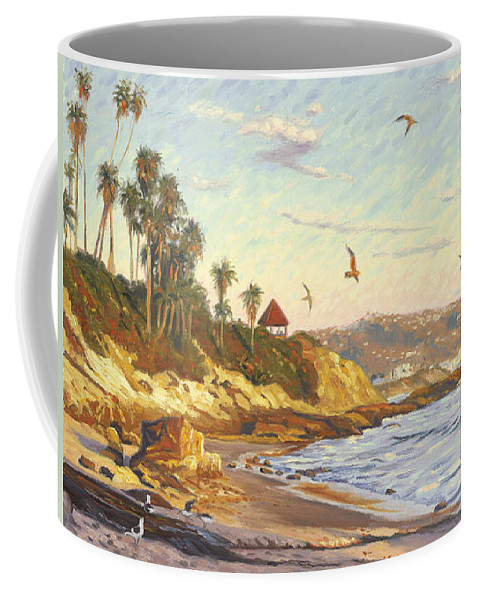 Twilight Coffee Mug featuring the painting Heisler Park Rockpile At Twilight by Steve Simon