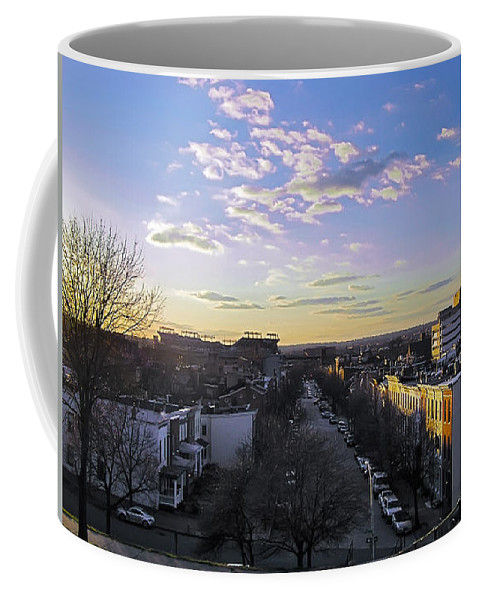 2d Coffee Mug featuring the photograph Sunset Row Homes by Brian Wallace
