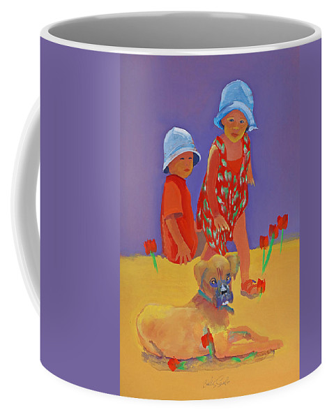 Boxer Dog Coffee Mug featuring the painting The Boxer Puppy by Charles Stuart