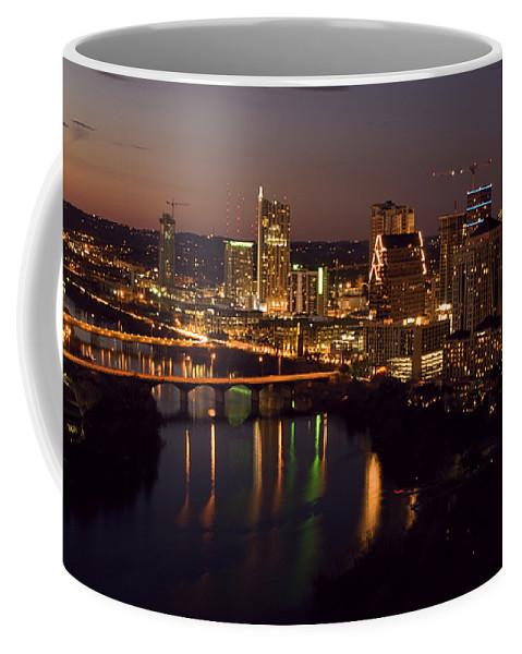Austin Coffee Mug featuring the photograph City Of Austin At Dusk by David Thompson
