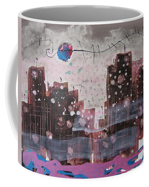 Brown Paintings Coffee Mug featuring the painting Cityscape by Seon-Jeong Kim