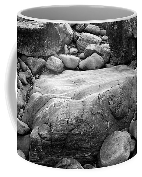 Black And White Coffee Mug featuring the photograph Coastal Granite In Black And White by David Thompson