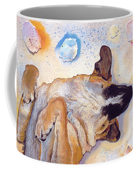 Sleeping Dog Coffee Mug featuring the painting Dog Dreams by Pat Saunders-White