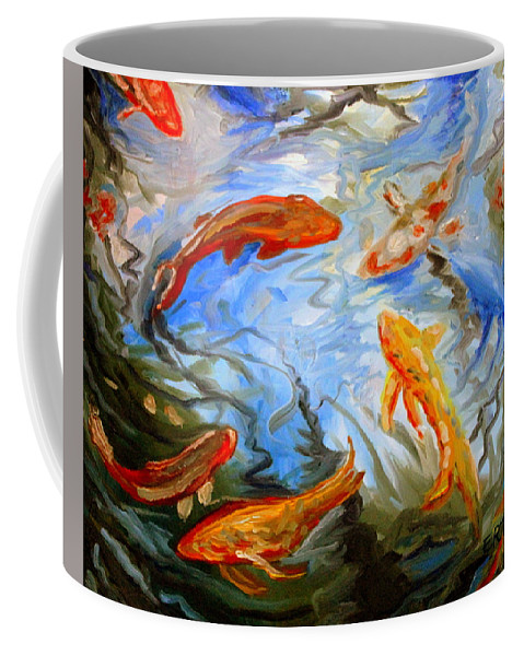 Oil Coffee Mug featuring the painting Fish Reflections by Elizabeth Robinette Tyndall