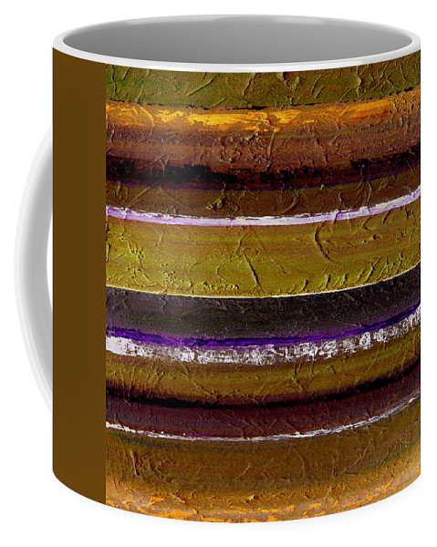 Abstract Coffee Mug featuring the painting Lined Up by Ruth Palmer