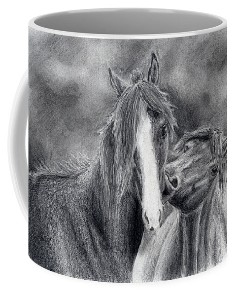 Horse Drawings Coffee Mug featuring the drawing Love Bite by Anna Katherine